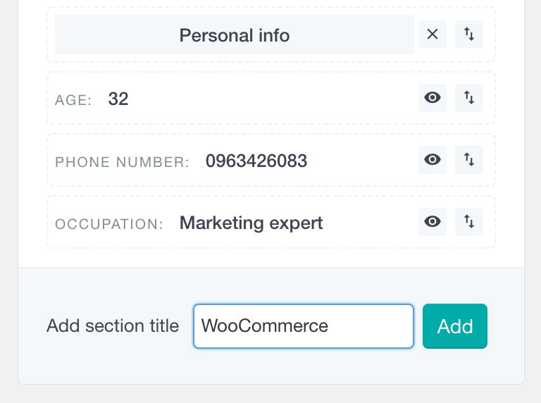 WooCommerce add profile field group