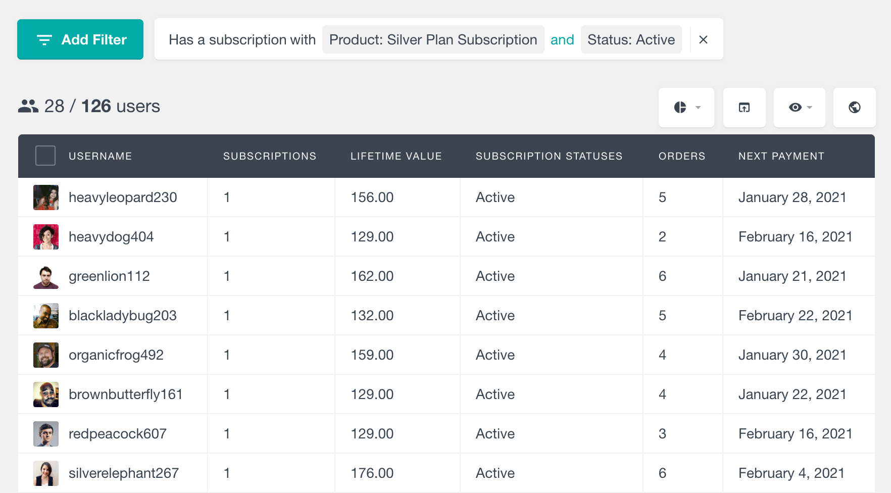 WooCommerce Subscriptions filter users by plan and status