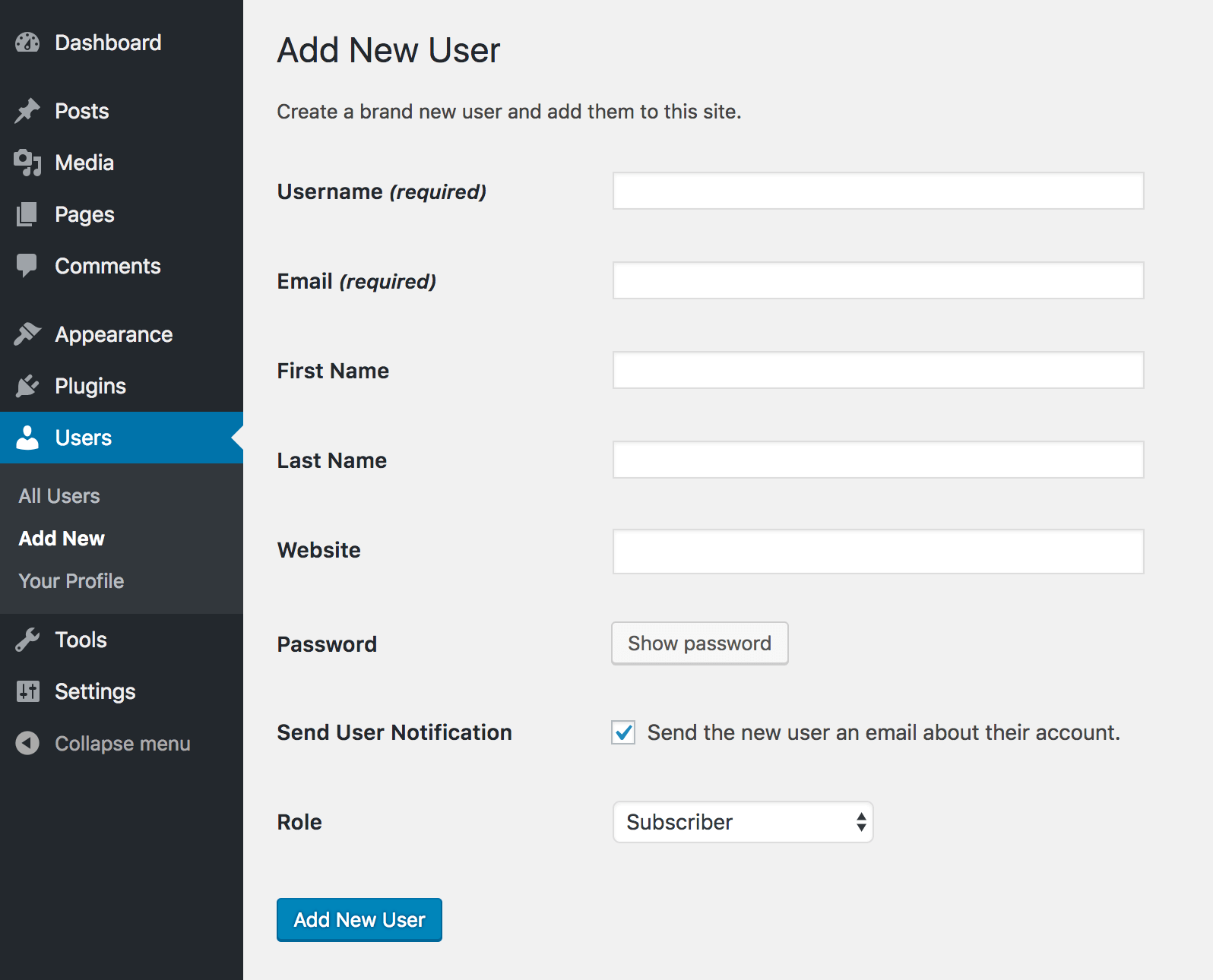 WordPress Add New User screen