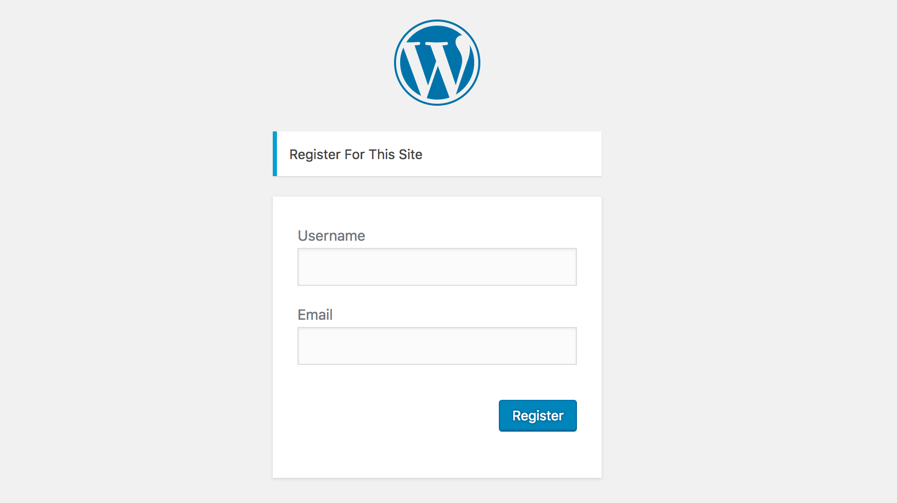 WordPress user registration form