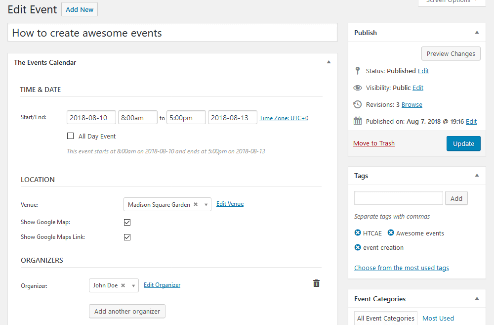 WordPress event registration with The Events Calendar