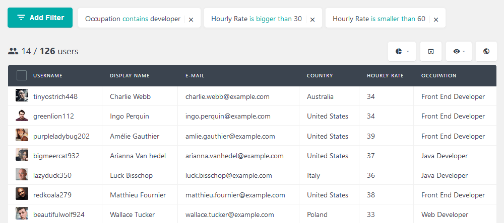 FIlter users based on occupation, and hourly rate range