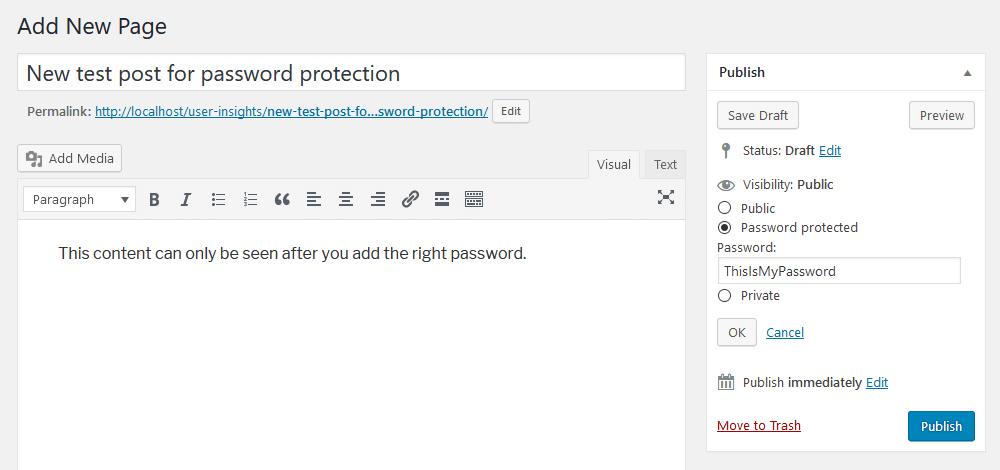 Creating a WordPress private page using password protection