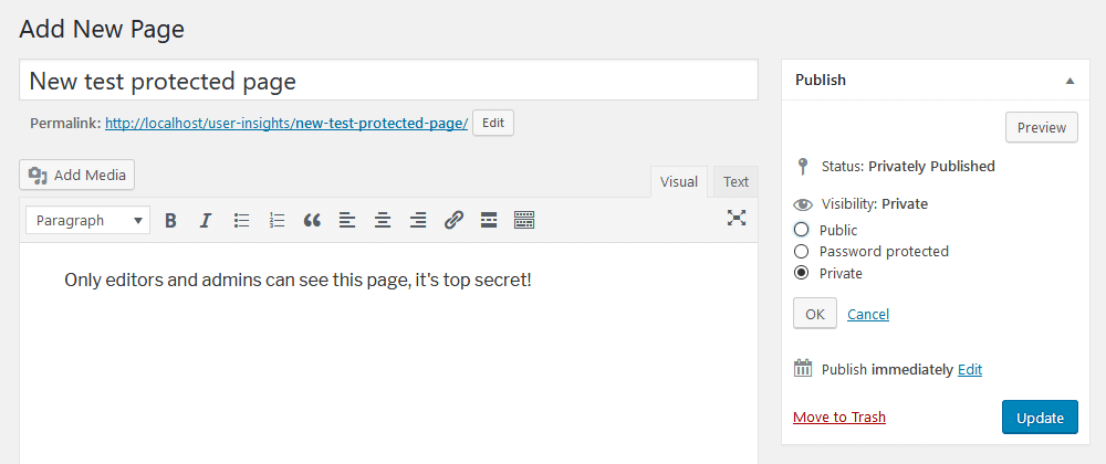 Create private pages in WordPress