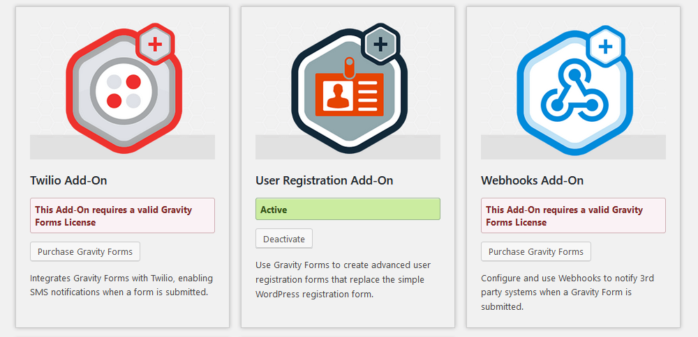 User registration addon active