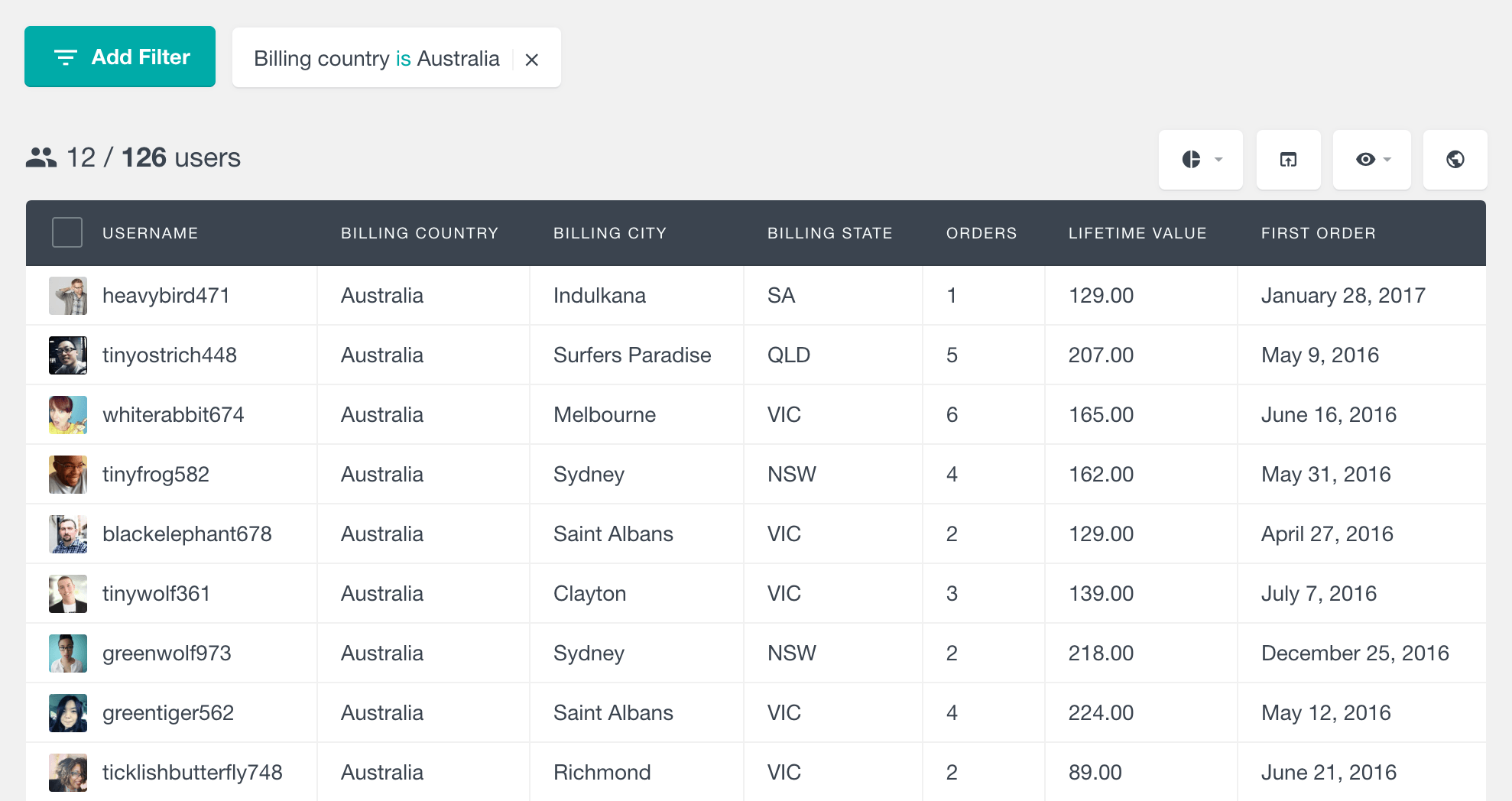 WooCommerce search customers by billing country, city and state