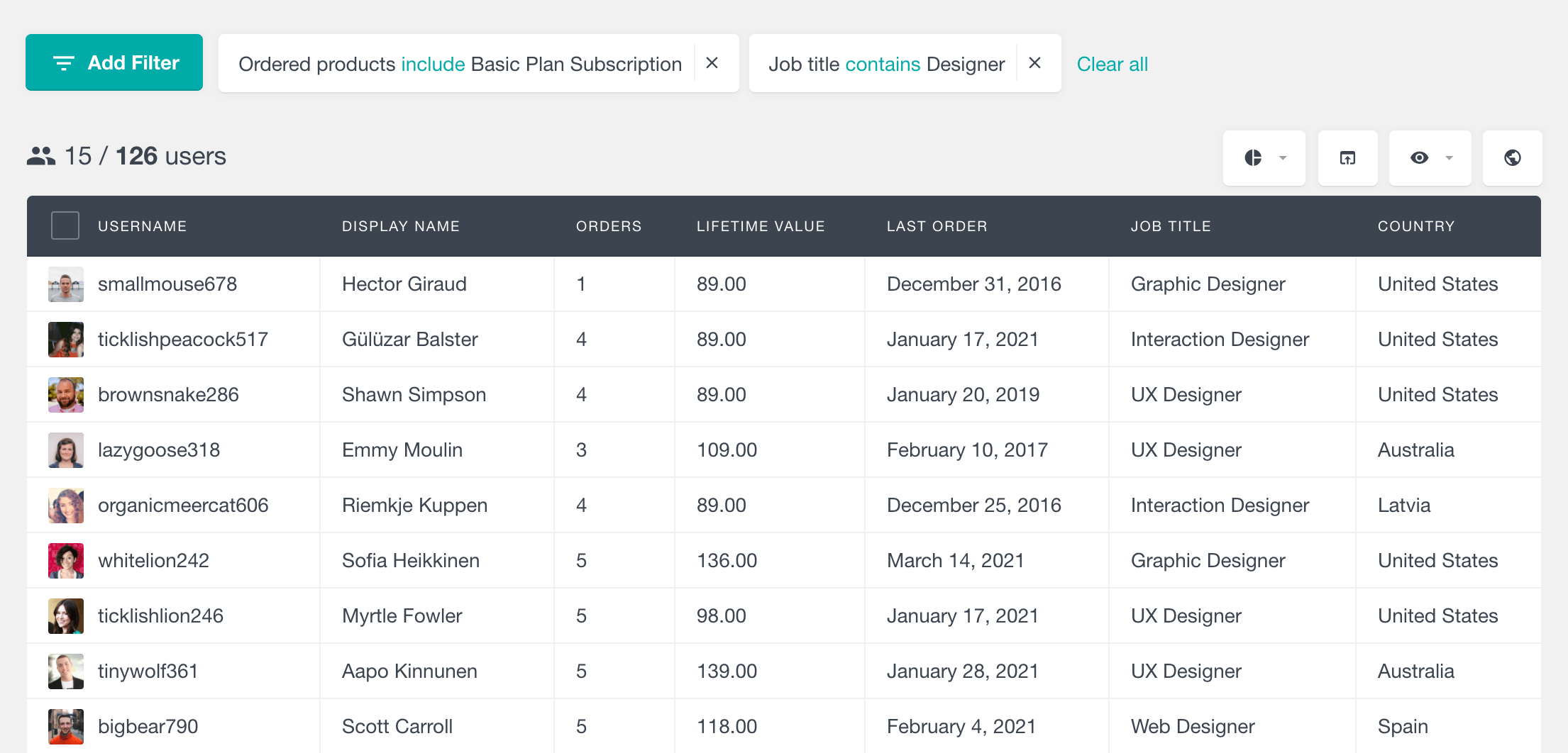 Filter service customers based on their occupation and other attributes