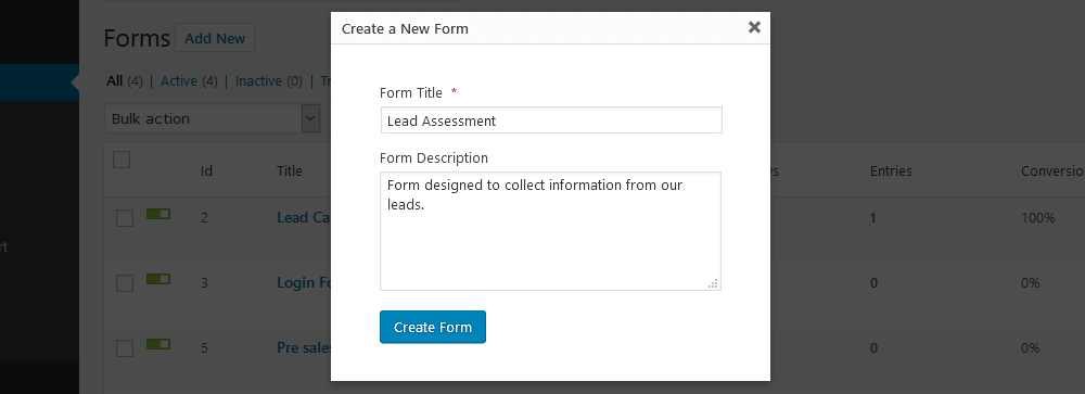 Create a new WordPress survey with gravity Forms