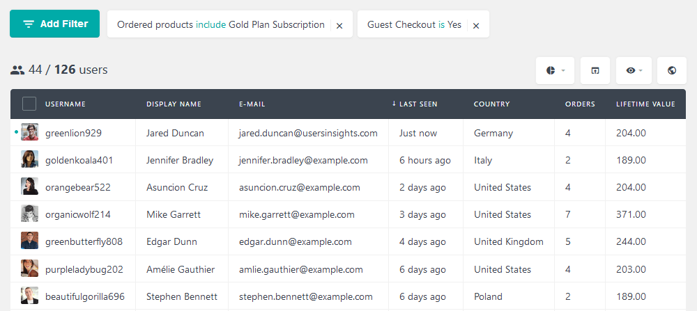 Filter guest WordPress users based on their ordered products