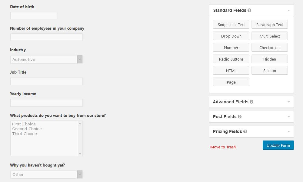 Add custom fields to your WordPress questionnaire