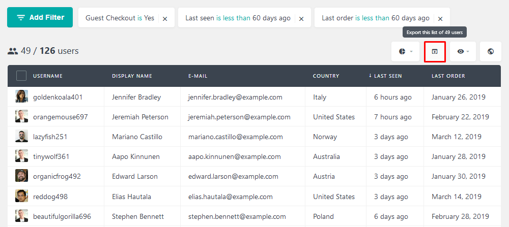 Export guest users