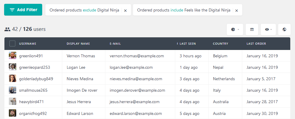 Filter users based on similar digital products bought