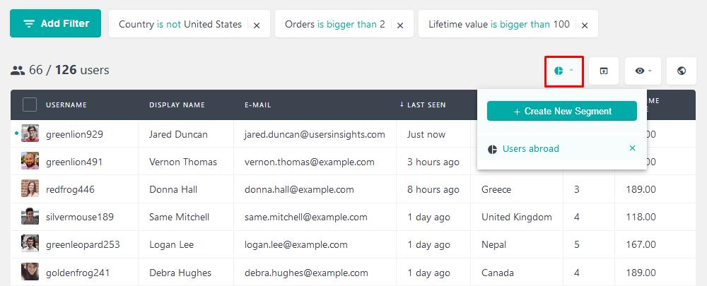 Save user segments for customer location
