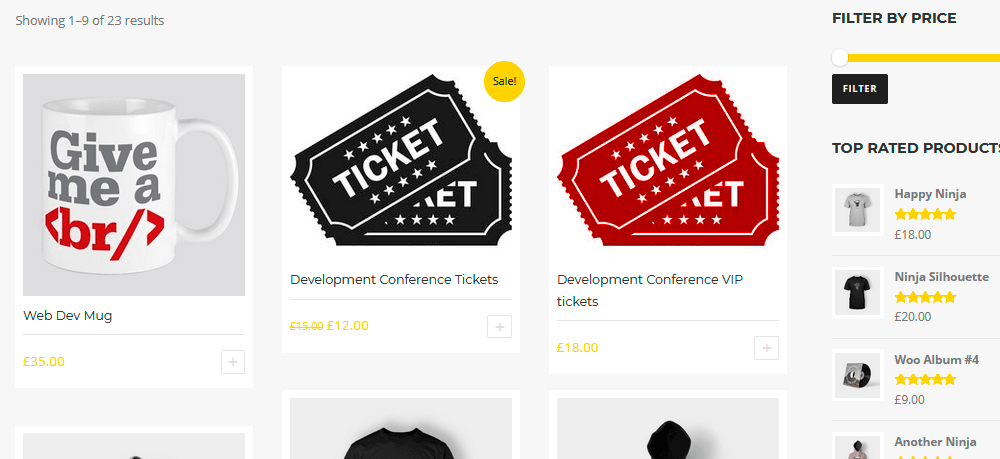 Shop page with products and tickets for WooCommerce sites