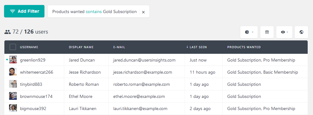 Filter users based on questionaire answers