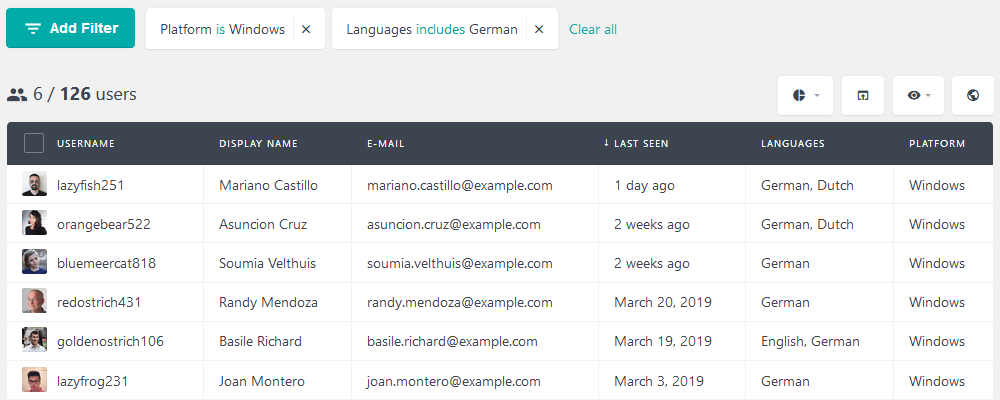 List users based on platform and preferences, such as language