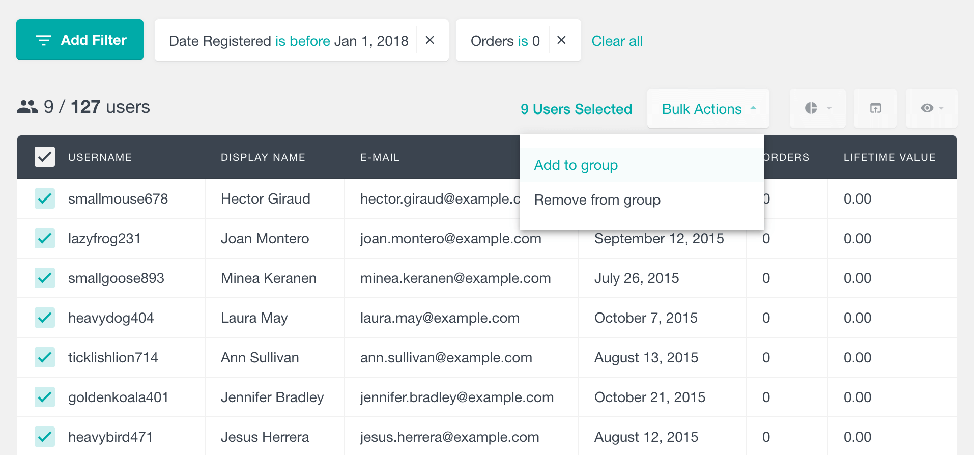 Assign bulk delete users group