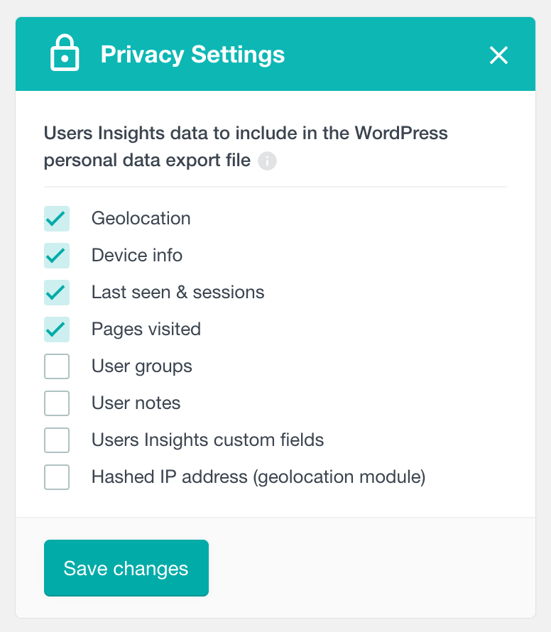 Users Insights personal data export settings
