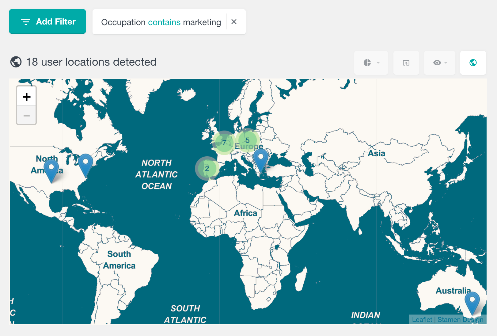 View user locations based on custom fields data