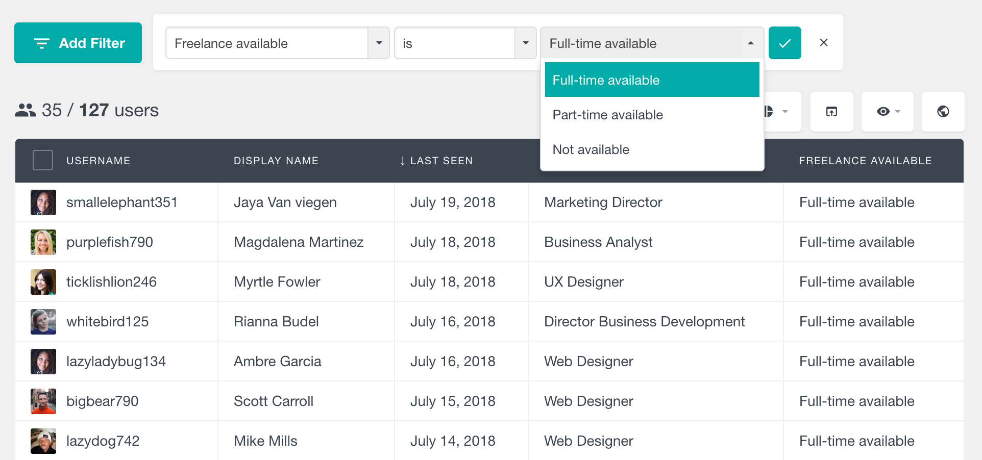 WordPress filter users by drop-down custom field