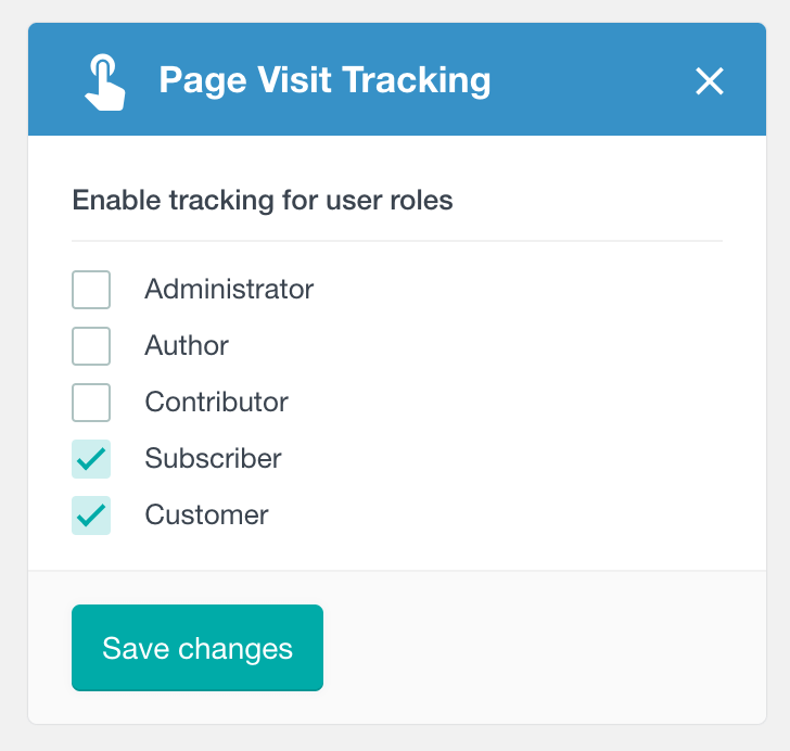 WordPress page visit tracking select user role