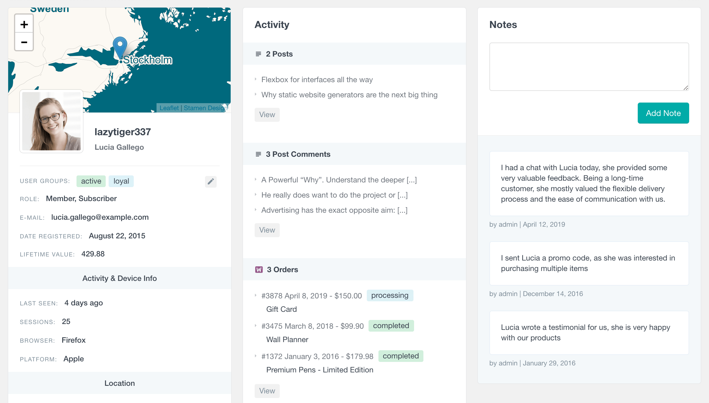 WordPress user notes in profile