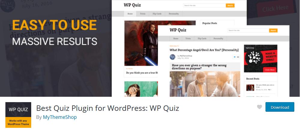 WP Quiz for a simple WordPress quiz plugin