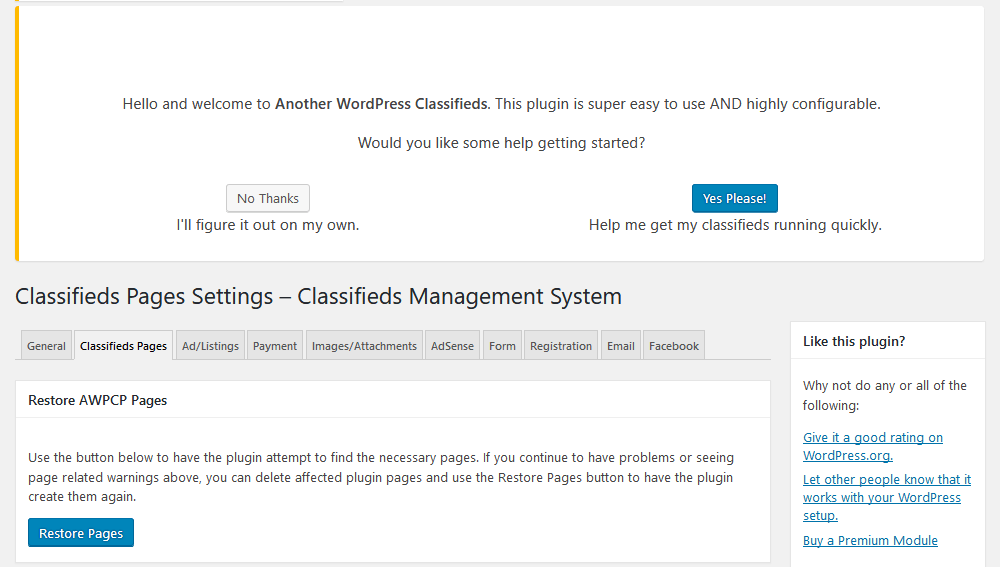 Classifieds settings - easy setup