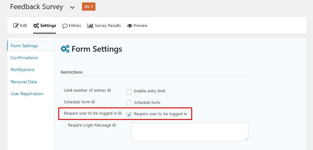 Require user login for custom user fields storage