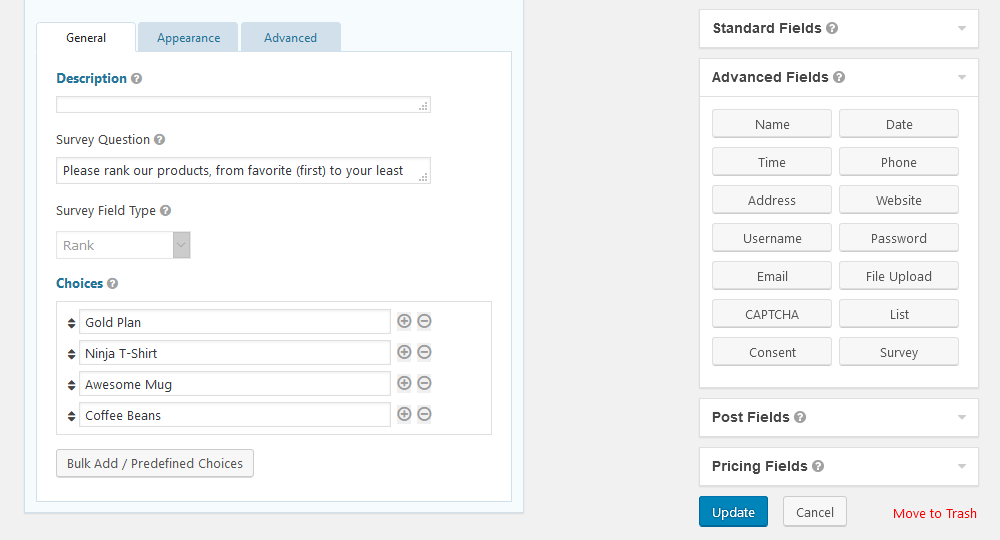 Setup rank fields for surveys