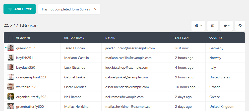 Filter users based on form submission