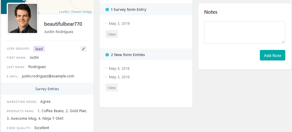 User Activity panel with custom fields