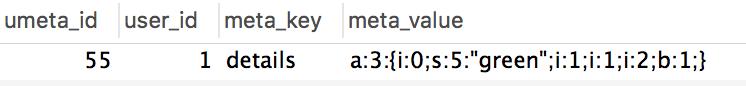 WordPress user meta store arrays