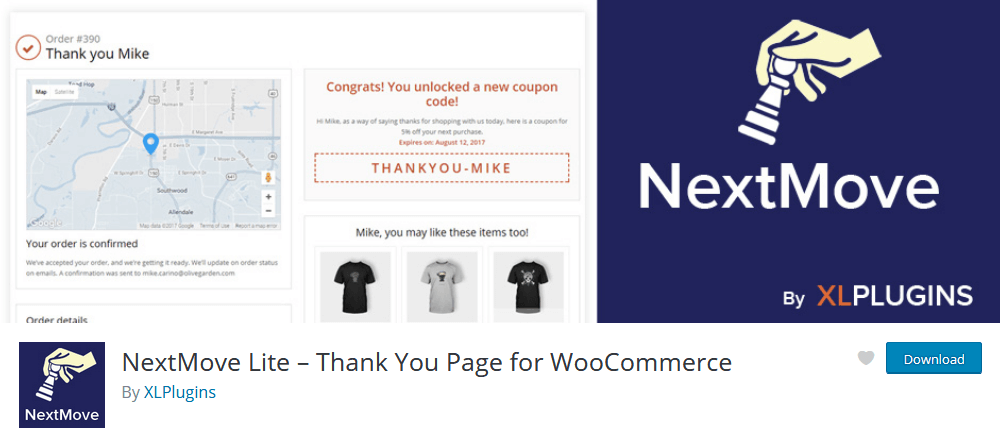 NextMove WordPress plugin for custom thank you page