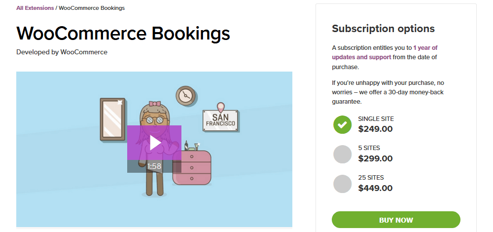 WooCommerce Booking System with WooCommerce Bookings
