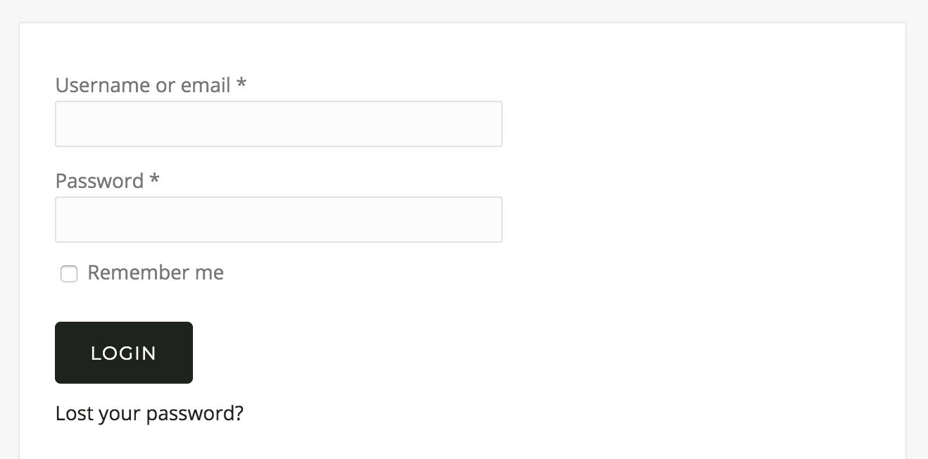 WooCommerce login form