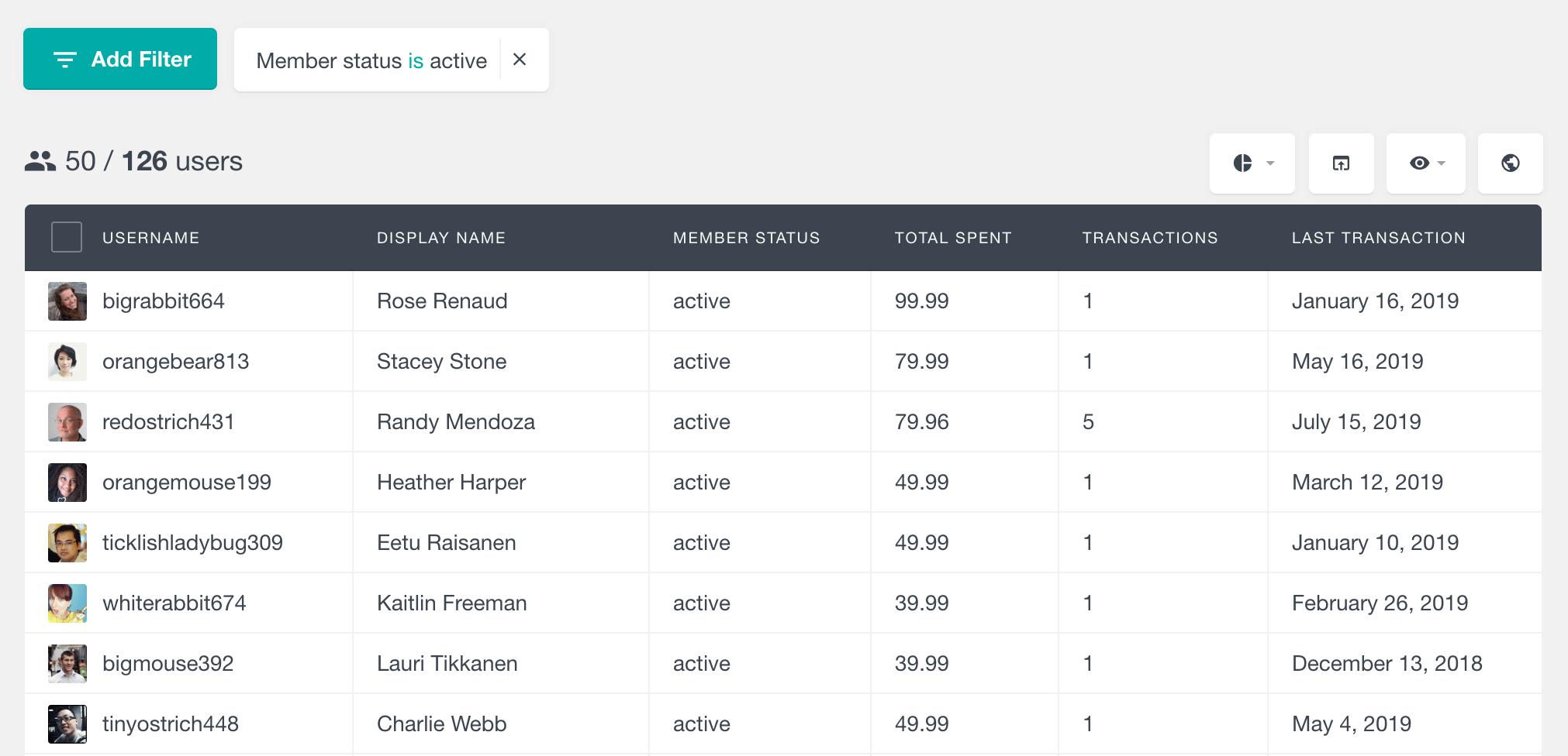 MemberPress filter by member status