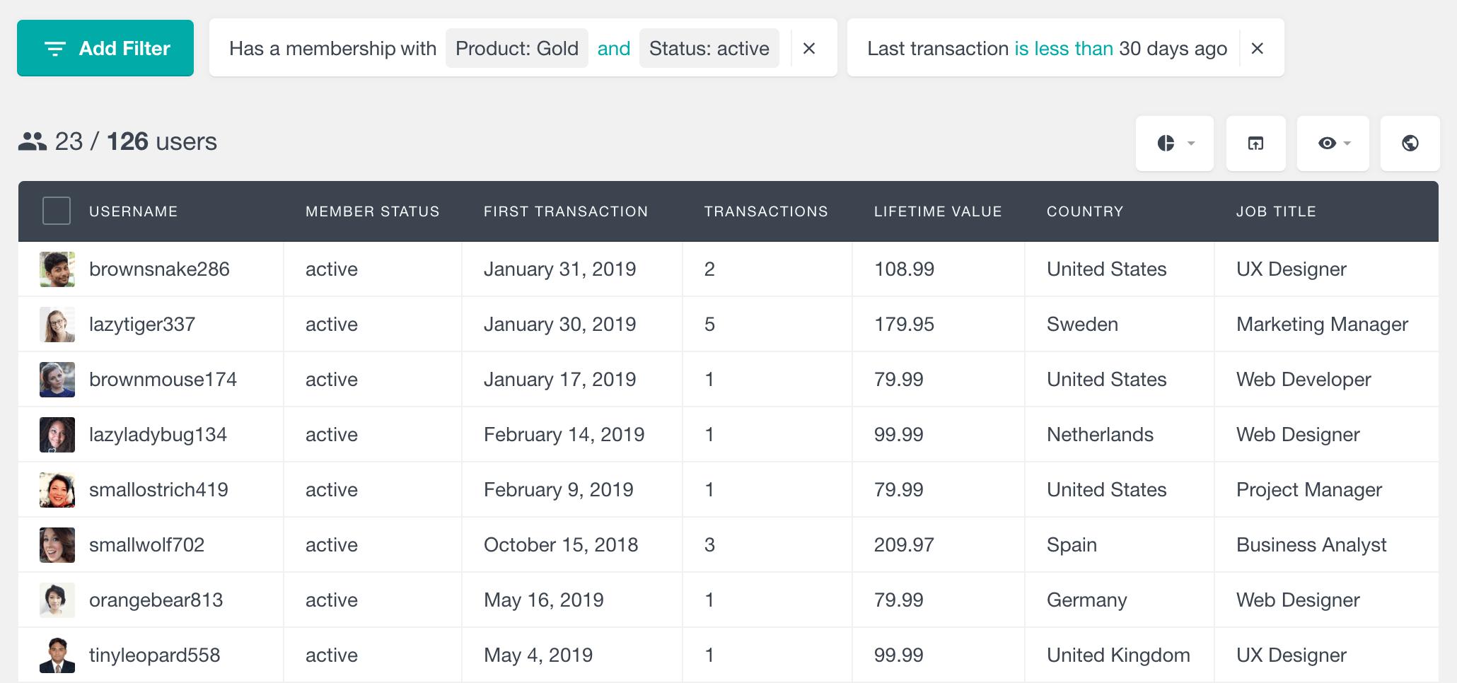 MemberPress user table and filters