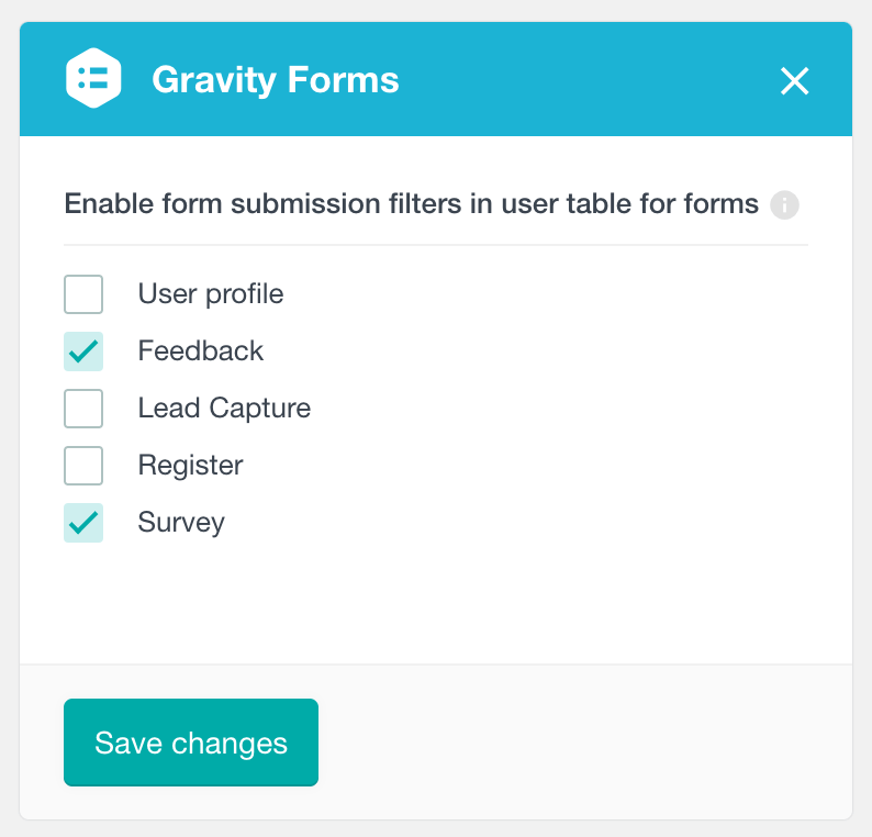 Enable Gravity Forms user filters