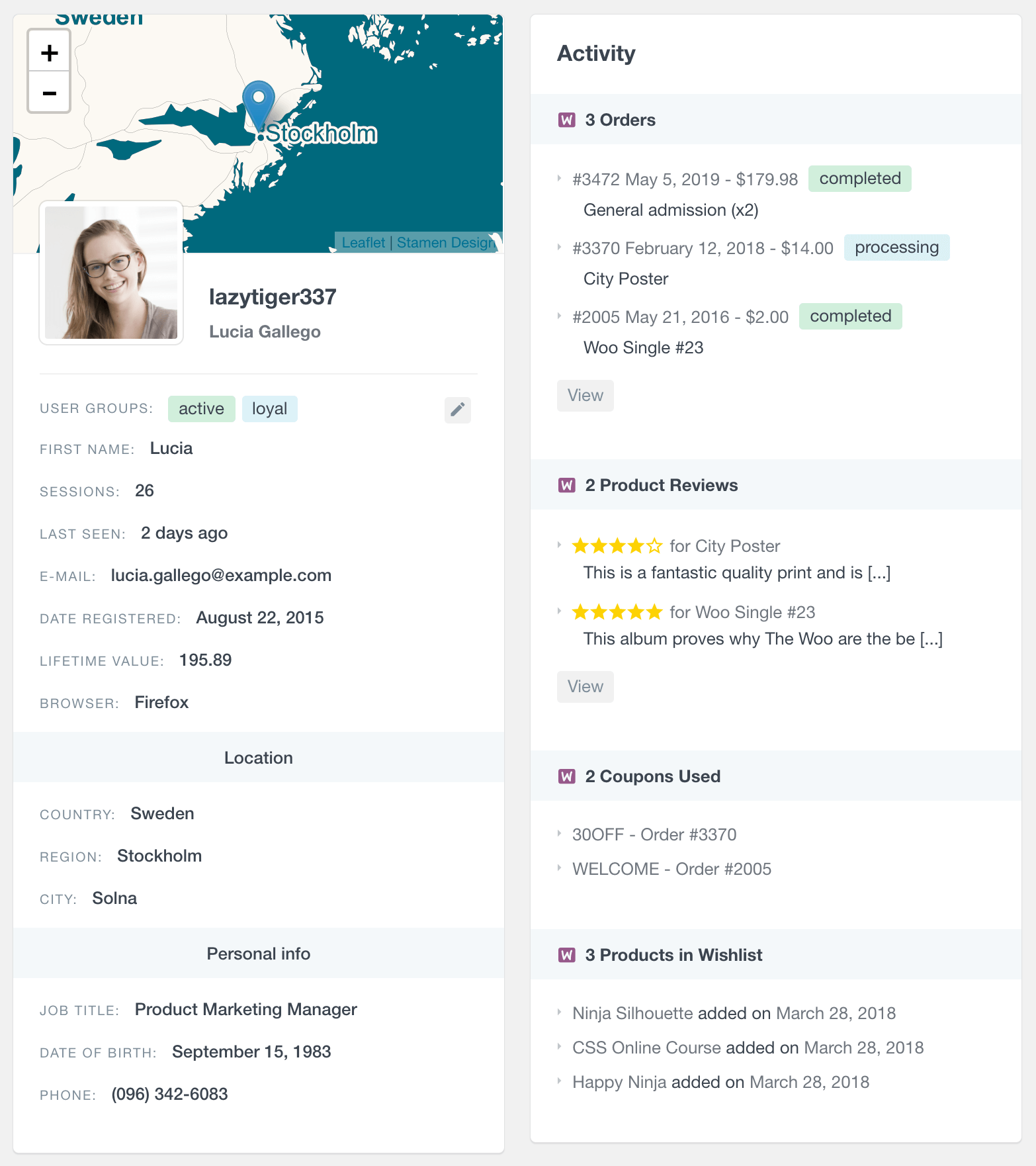 WooCommerce customer profile