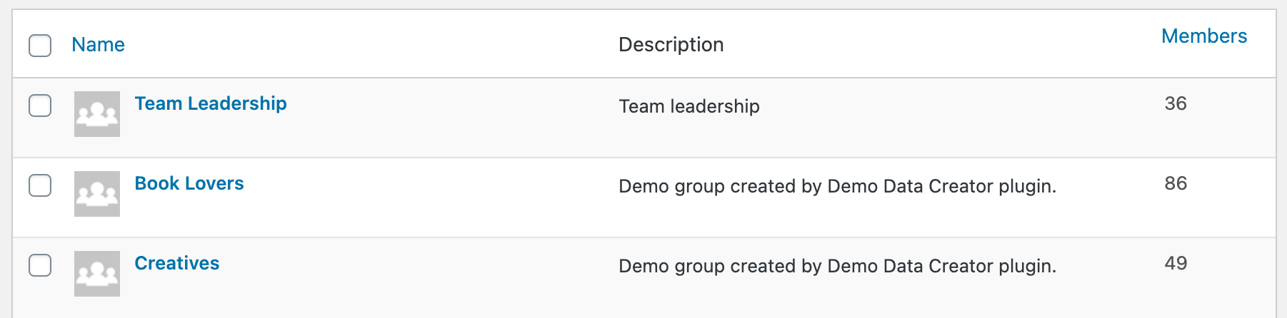BuddyPress group list