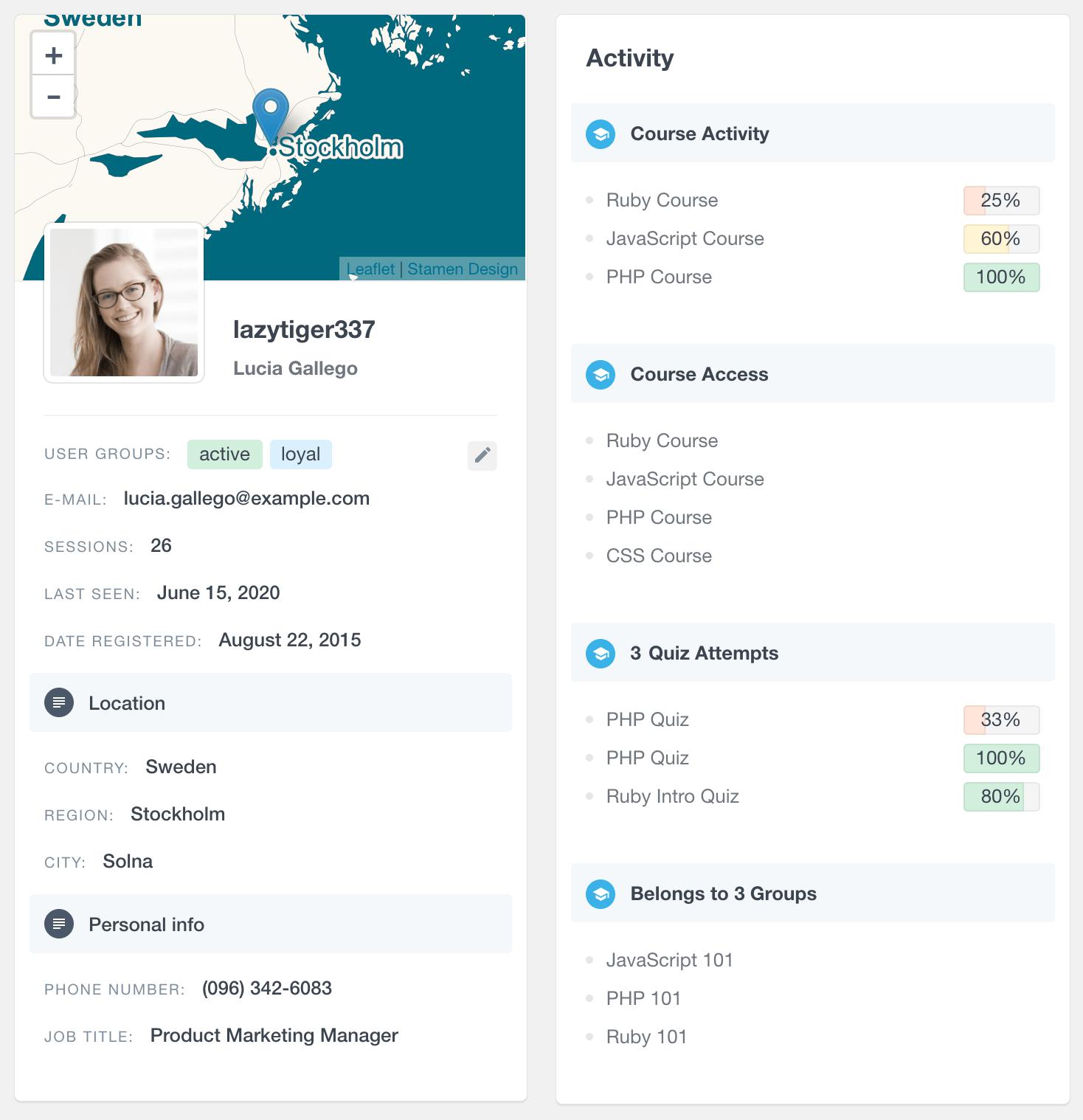 LearnDash user profile