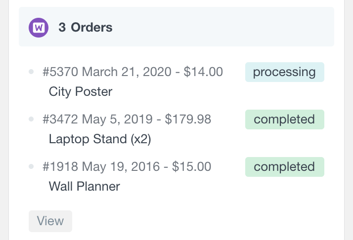 WooCommerce customer profile orders