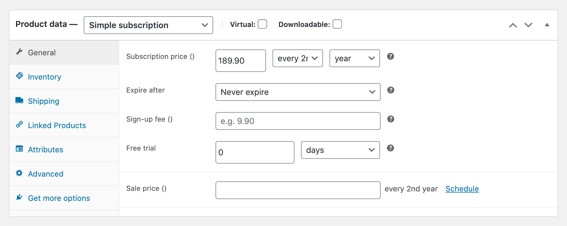 woocommerce recurring payments settings